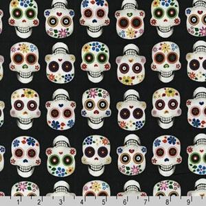 Dia De Los Muertos Skull Black Fabric