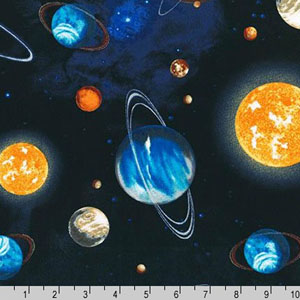 Stargazers Planet Stars Outer Space  Fabric Royal