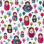 Svetlana's Forest Nesting Dolls White Fabric