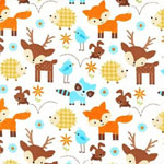 Wee Woodland Deer Fox Hedgehog Cream Fabric