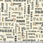 Paris Panache Words Text Cream Fabric