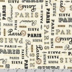 Paris Panache Words Text Cream Fabric