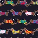 Cute to Boot Dachshund Dog Black Fabric