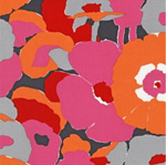 Auntie's Attic CANVAS Retro Flowers Orange Fabric
