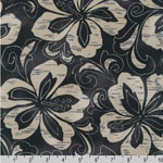 Surf N' Tropicals Black Floral Poplin Fabric
