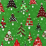 Retro Christmas Trees Green Fabric
