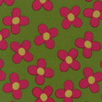Pop Posies Pink Flowers on Green Organic Fabric