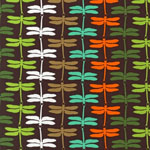 Fancy Flight Dragonfly Garden BrownOrganic Fabric
