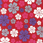 Fancy Flight Hawaiian Flowers Red  Organic Fabric