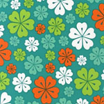 Fancy Flight Hawaiian Flowers Teal Organic Fabric