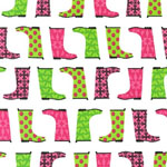 Jack and Jenny Galoshes Pink and Green Fabric