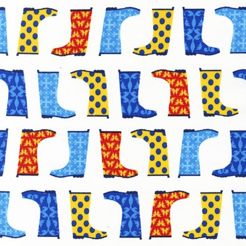 Jack and Jenny Galoshes Blue Yellow Fabric