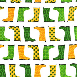 Jack and Jenny Galoshes Green Yellow Fabric