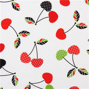 Let's Eat Cherry White Fabric