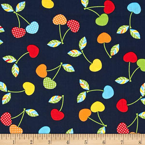 Let's Eat Cherry Navy Blue Fabric