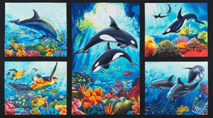 Island Sanctuary 2 Orca Print Panel Fabric