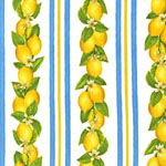 Fresh Lemons Sky Blue Stripes Fabric