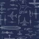 PATRIOTS 5 Aircrafts Navy Blue Fabric