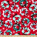 Retro Christmas Wreaths Red Fabric