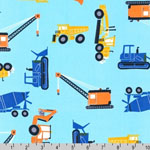 Ruff N' Tuff Construction Vehicles Aqua Fabric