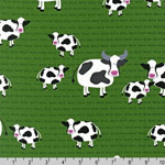 Barnyard Counting Cows Green Fabric