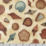 Hidden Cove Sea Shells Dark Cream Fabric