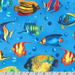 Tropical Reef Fish on Blue Fabric