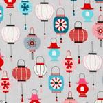 Kokeshi Lanterns on Gray Fabric