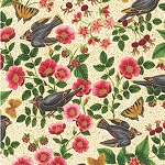 Midnight Sun Birds on Branches Ivory Fabric