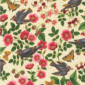Midnight Sun Birds on Branches Ivory Fabric