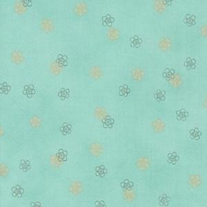 Satsuki 3 Japanese Flowers Seafoam Green Fabric