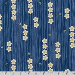 Satsuki 3 Japanese Cherry Blossom Flowers Stripe Blue Fabric