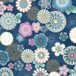 Satsuki 3 Japanese Flowers Blue with Gold Fabric