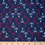 Laguna Jersey Knit Anchor Navy Fabric