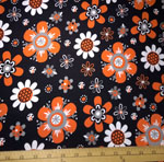 Laguna Prints Jersey Knit Orange Flowers Fabric
