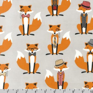 Fox and The Houndstooth Gray Fabric