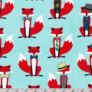 Fox and The Houndstooth Aqua Fabric