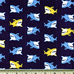 Animal Club Sharks Fabric Navy Blue