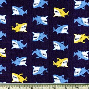 Animal Club Sharks Fabric Navy Blue