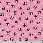 Animal Club Metallic Panda Silver Dot Pink Fabric