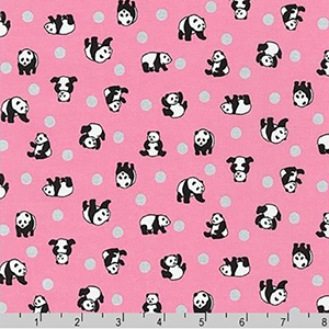 Animal Club Metallic Panda Silver Dot Pink Fabric