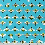 Bright Buzzy Bee Aqua Blue Fabric