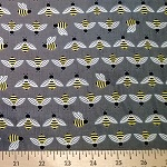 Bright Buzzy Bee Gray Fabric