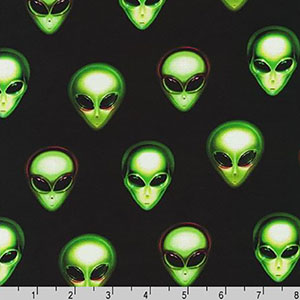 Area 51 Alien Heads on Black Fabric