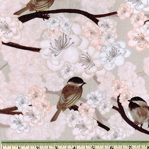 Avalon Jersey Knit Print Birds Chery Blossom Fabric