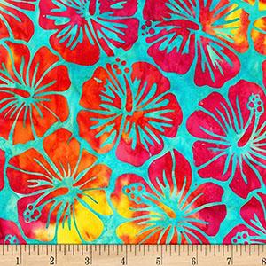 Artisan Batiks Totally Tropical Hibiscus Rainbow Fabric