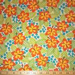 Beachy Keen Hibiscus Tropical Natural Fabric