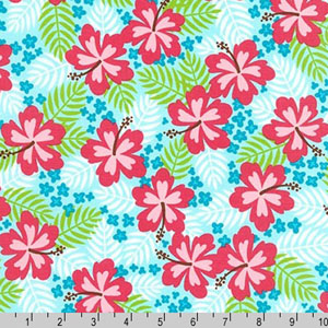 Beachy Keen Hibiscus Tropical Sky Blue Fabric