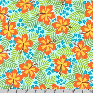 Beachy Keen Hibiscus Tropical Aqua Fabric