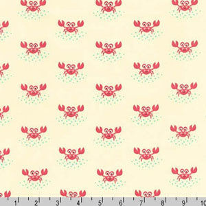 Beachy Keen Crab Natural Fabric